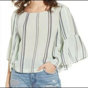 BP Nordstrom Striped Bell Sleeve Small Top